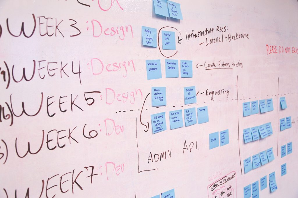 An employee using Project Management tools